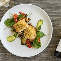 Herb Crusted Fish of the Bay pairs nicely with Middle Earth Pinot Gris