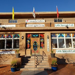 There are two art galleries and a Cafe at 205 Romero Street, on the Plaza of Old Town ABQ.