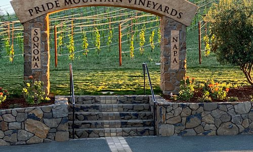 Our vineyards straddle the Napa/Sonoma border at 2100' above sea level. The Stone Arch path follows the border so you can put one foot in Napa and one in Sonoma!