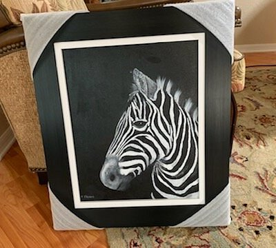 Monochromatic Zebra with beautiful Frame.