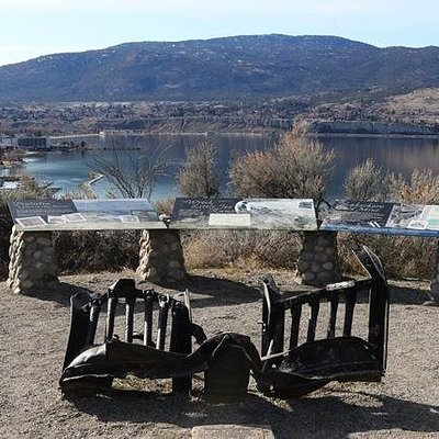 Cow catcher and info panels on the KVR trail above Penticton.