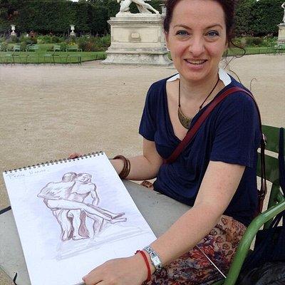 Dans les Tuileries, moment agréable et de partage avec  une italienne
