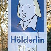 Wegzeichen des Hölderlin-Pfads.