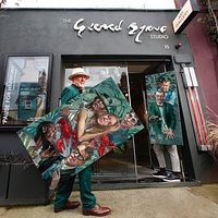 Artist Gerard Byrne outside his gallery and studio in Ranelagh, Dublin 6 launching his latest collection of figurative paintings, winter 2020 - 2021. Pictured with 'That's My Girl' and 'Whiskey Sour'. Gerard Byrne Studio - Home of modern Irish Impressionism