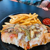 Louisiana Purchase ( like a philly cheesesteak, with sausage and shrimp instead)