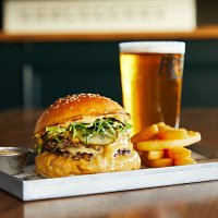 Smash Burger (2 x 100g beef patties, melted cheese, house made pickles, shrettuce & secret house sauces), fries and a pint of West Coast IPA