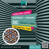 Buy tickets:https://museumofillusions.in/tickets/ . Week day Special Offer Till 31st March 2021 !!! Monday to Friday buy tickets at flat Rs. 590/- (Adults) and Rs. 500/- (Children) . . #specialdiscount#weekdaydiscount#discounts #ticketsdiscount#museumofillusionsnewdelhi#illusion#connaughtplace#imagination#hangout