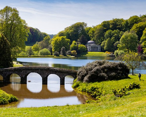 The view towards the Palladian Bridge and Pantheon at Stourhead in Spring