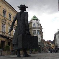 Alma Karlins monument in the city center of Celje, Krekov trg.