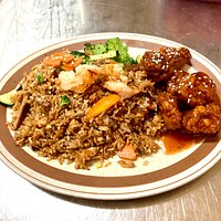 NEW combo A : House Spcial Fried Rice with Sweet & Sour Pork Plus Spring Roll