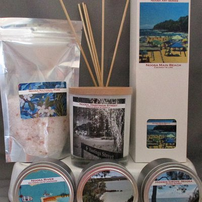 Locally made candles featuring artists from Hearts and Minds Art
