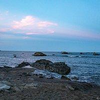 海鹿島海水浴場の岩場