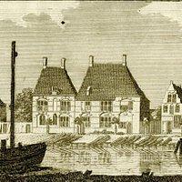 Gravure 1726, pand links wsl oude Koggehuis, gesloopt 1796