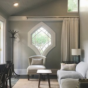 Carriage House-space to relax surrounded by pastel colors and architectural details.