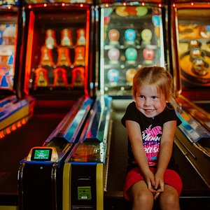 Eager to play skeeball at Funtrackers Family Fun Park arcade in Hot Springs, AR