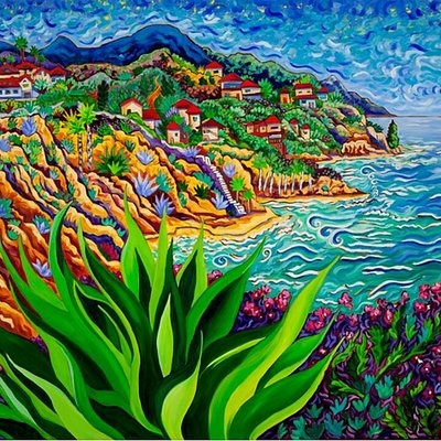 La Jolla Shores village offers travelers among the best unique seascapes. Our featured artist through June is famed local artist Cathy Carey. Her works dazzle the eye and delight the human spirit.