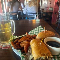 Great sandwich French dip with sweet potato fries Yummy! Great service and a great spot!