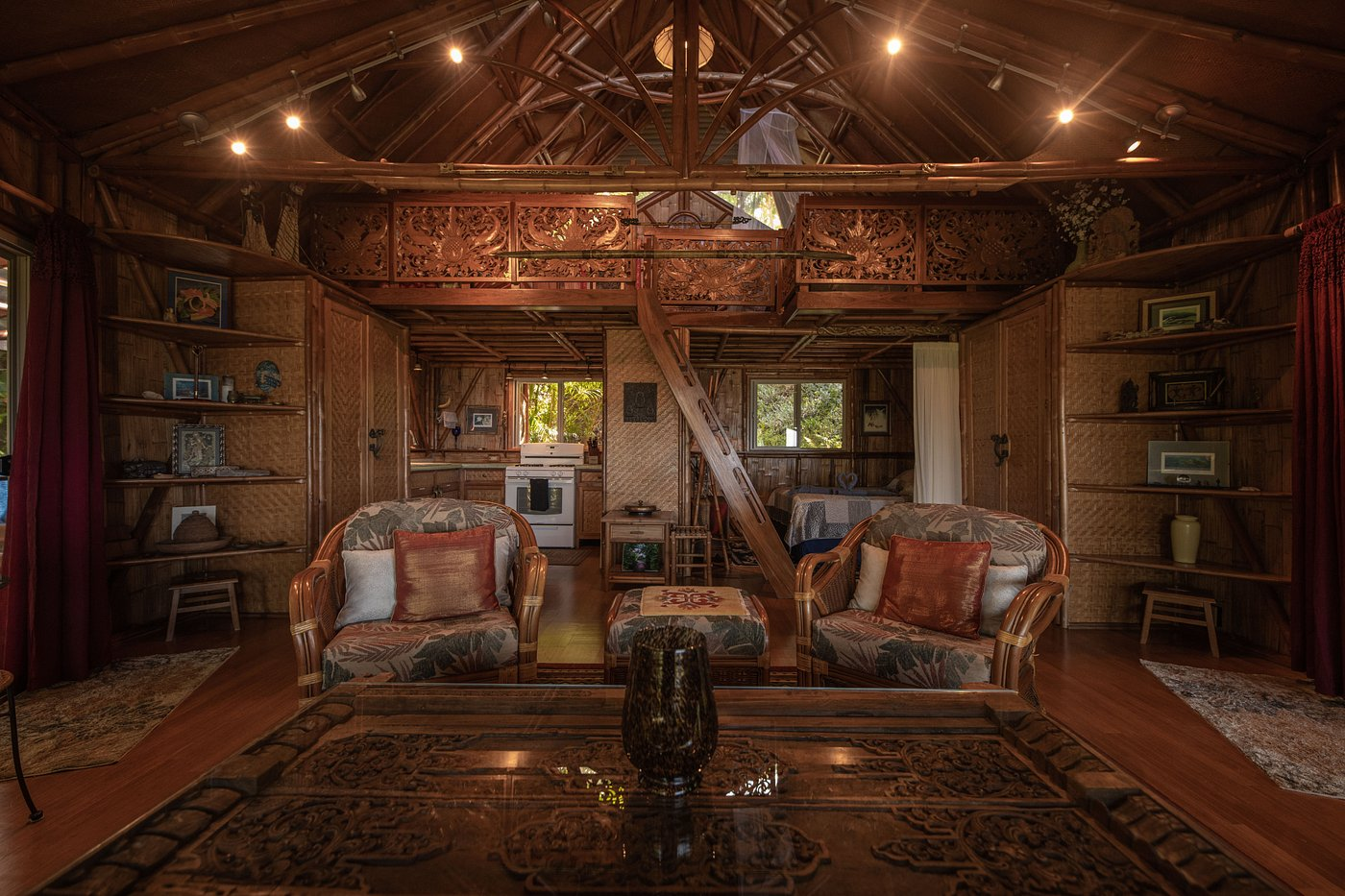Intimate wooden interior of one of the  Airbnbs Hawaii