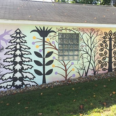 Mural on garage for The Guild of American Papercutters  National Museum