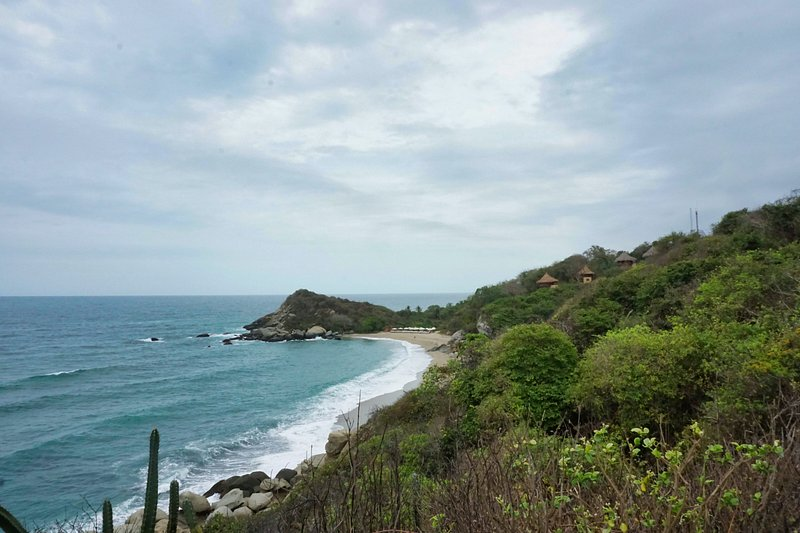 Relaxing beach view in Tayrona National Park, Magdalena, Colombia