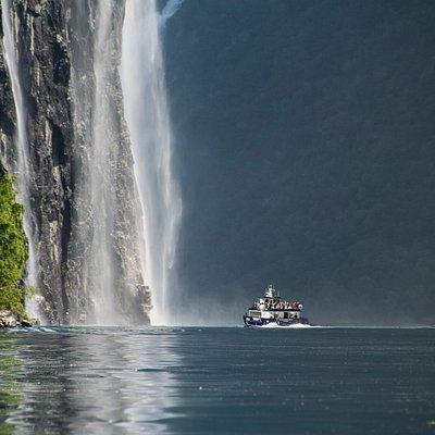 Fjordcruise on Geirangerfjord beside the Bridal Veil waterfall
