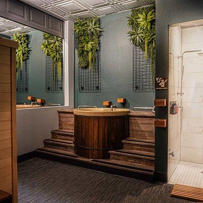 Beer Therapy Room with garage door open.