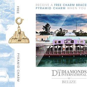 Receive a Free Charm Bracelet & Pyramid Charm When You Visit Diamonds International Belize.