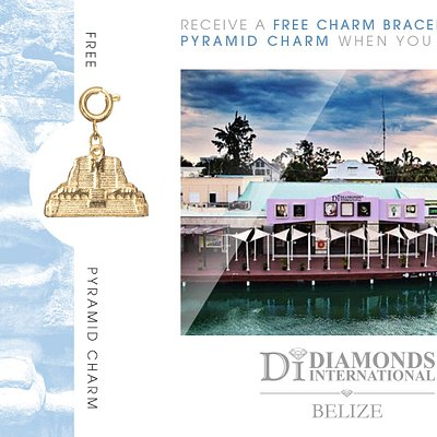 Receive a Free Charm Bracelet & Pyramid Charm When You Visit Diamonds International Belize.