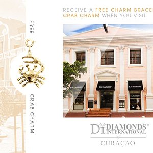 Receive a Free Charm Bracelet & Crab Charm When You Visit Diamonds International Curacao.