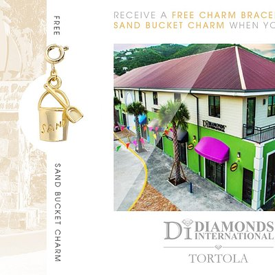 Receive a Free Charm Bracelet & Sand Bucket Charm When You Visit Diamonds International Tortola.