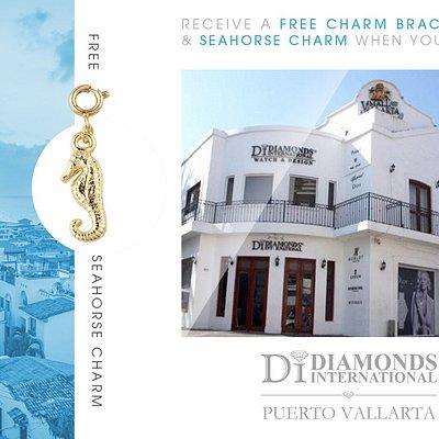 Receive a Free Charm Bracelet & Seahorse Charm When You Visit Diamonds International Puerto Vallarta.