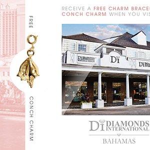 Receive a Free Charm Bracelet & Conch Charm When You Visit Diamonds International Bahamas.