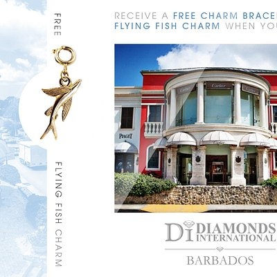 Receive a Free Charm Bracelet & Flying Fish Charm When You Visit Diamonds International Barbados.