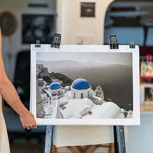 Archival canvas prints in all sizes displayed in Oria Art Gallery to look through and take home your favorite Santorini artwork.