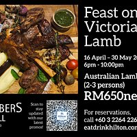 Feast On Victorian Lamb - 16 April to 30 May 2021. Australian Lamb Platter (2-3 person) inclusive complimentary bottle of house wine. RM 650 Nett.