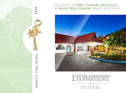 Receive a Free Charm Bracelet & Palm Tree Charm When You Visit Diamonds International St. Lucia.