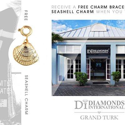 Receive a Free Charm Bracelet & Seashell Charm When You Visit Diamonds International Grand Turk.