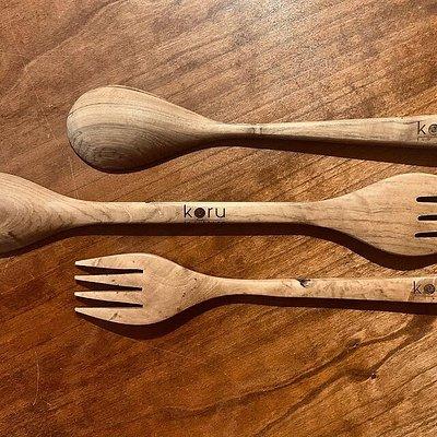 Acacia wood cooking utensils.