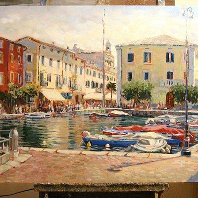 Lazise porto vecchio- quadro di Silvia Ferrari