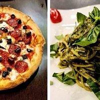Diavola Pizza & Pesto Pasta. Mangia