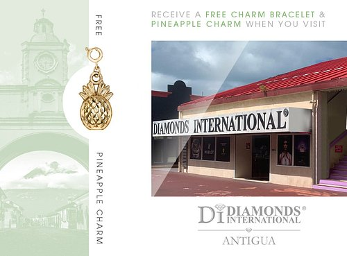 Receive a Free Charm Bracelet & Pineapple Charm When You Visit Diamonds International Antigua.