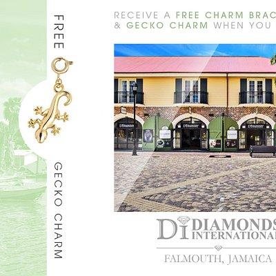Receive a Free Charm Bracelet & Gecko Charm When You Visit Diamonds International Falmouth Jamaica.