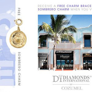 Receive a Free Charm Bracelet & Sombrero Charm When You Visit Diamonds International Cozumel.