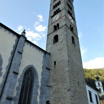 a tower dominating Poschiavo's skyline