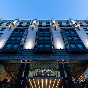 Hotel facade above main entrance