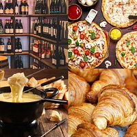 wine, pizza, cheese speciality, croissant...welcome to heaven