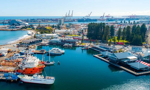 Aerial view of Fremantle Fishing Boat Harbour and Victoria Quay waterfront.
