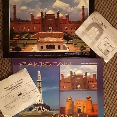 post cards and entry tickets for Lahore Fort