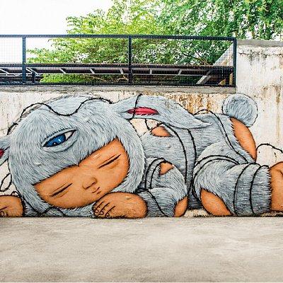 Alex Face mural art in Factory Phnom Penh