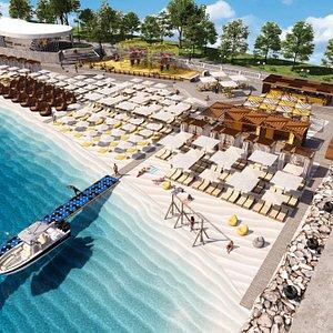 Современный пляжный клуб с удобными шезлонгами и семейными беседками, полностью организованный гастрономический фастфуд на пляже, анимация для детей, фитнес, спорт и развлечения на воде